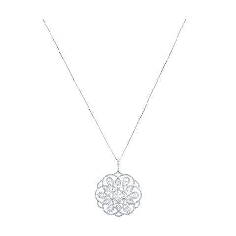 18kt White Gold and Diamond Floral Pendant