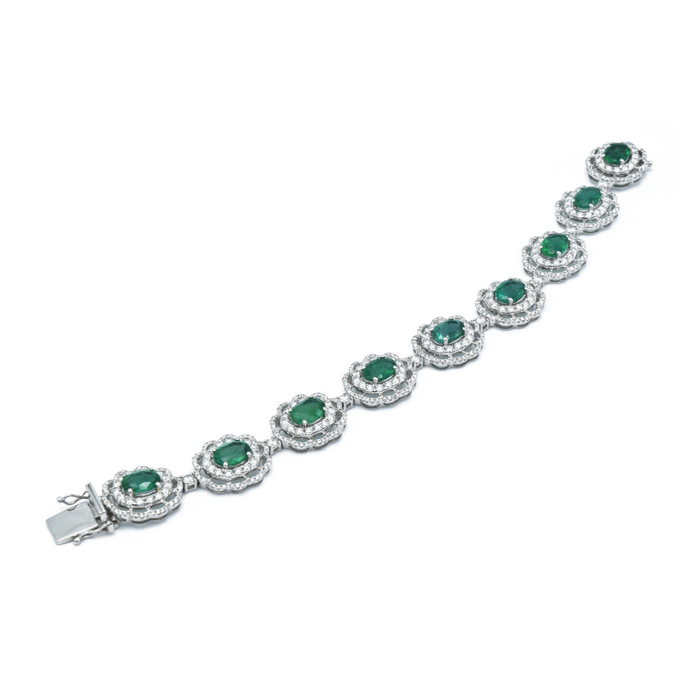 18kt White Gold Colombian Emerald Bracelet