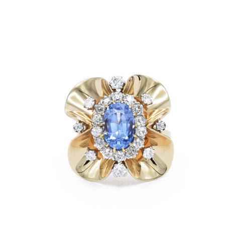 Estate 14kt Diamond Flower Ring