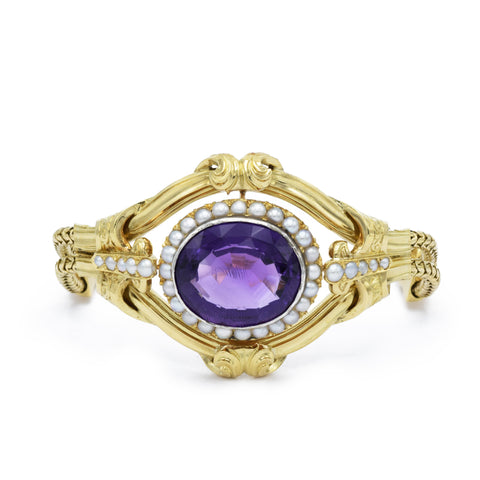 Estate Gold, Amethyst, and Pearl Bracelet, Victorian Era