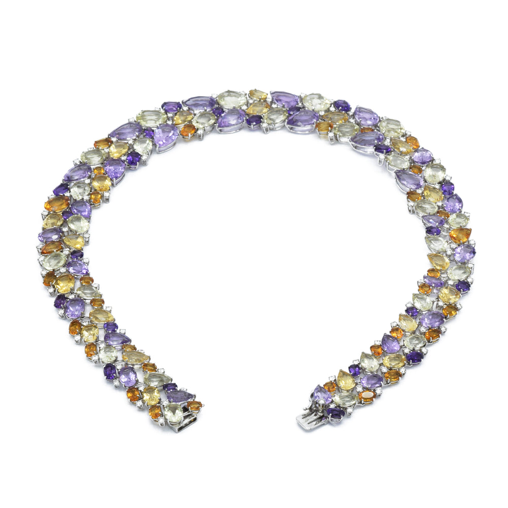 Estate White Gold Multigem Bib Necklace