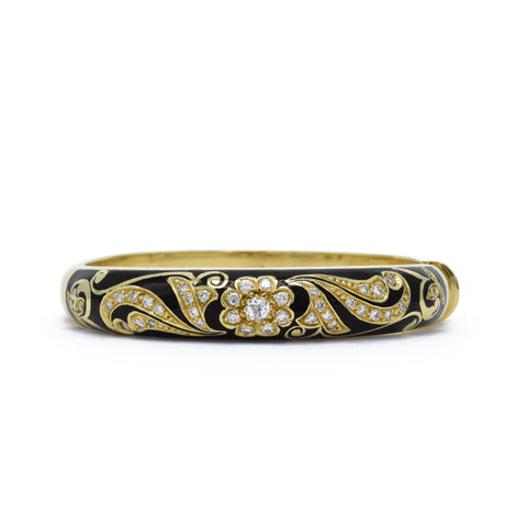 18kt Yellow Gold, Black Enamel and Diamond Bangle
