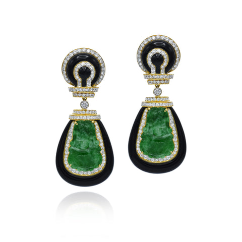 Estate 18kt Gold, Jade, and Onyx Earrings