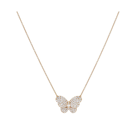 18kt Rose Gold Diamond Butterfly Necklace
