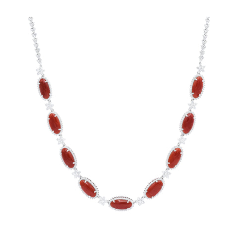 Coral and Diamond Necklace