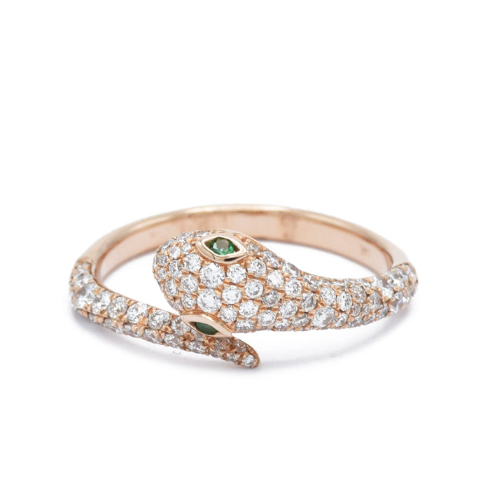 Rose Gold Diamond Snake Ring With Emerald Eyes