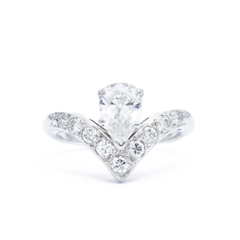 Platinum and Pear Diamond V Ring