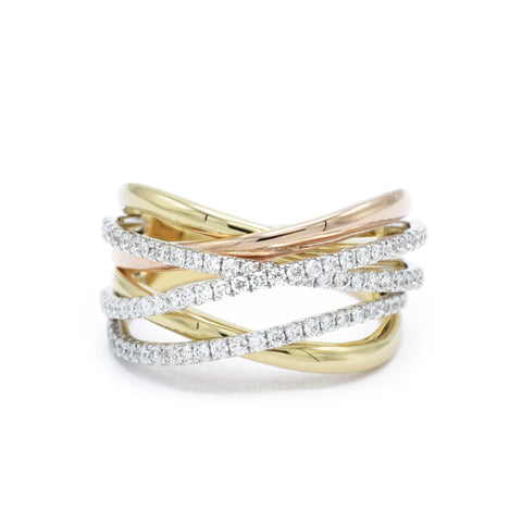 Rose and Yellow Gold Crisscross Ring