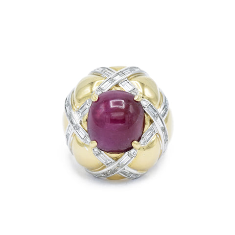 Estate Yellow Gold Ruby and Diamond Ring