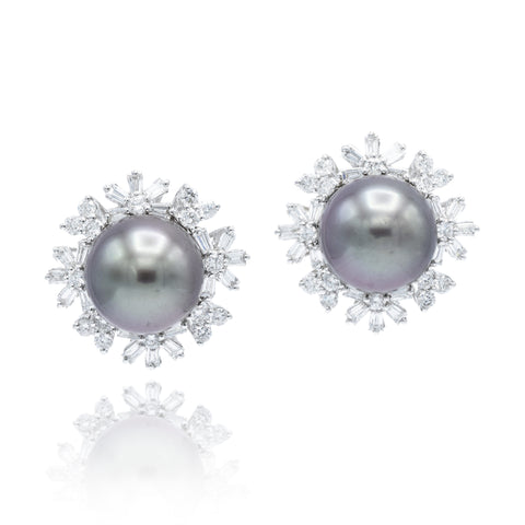 Estate Diamond and Tahitian Pearl Earrings