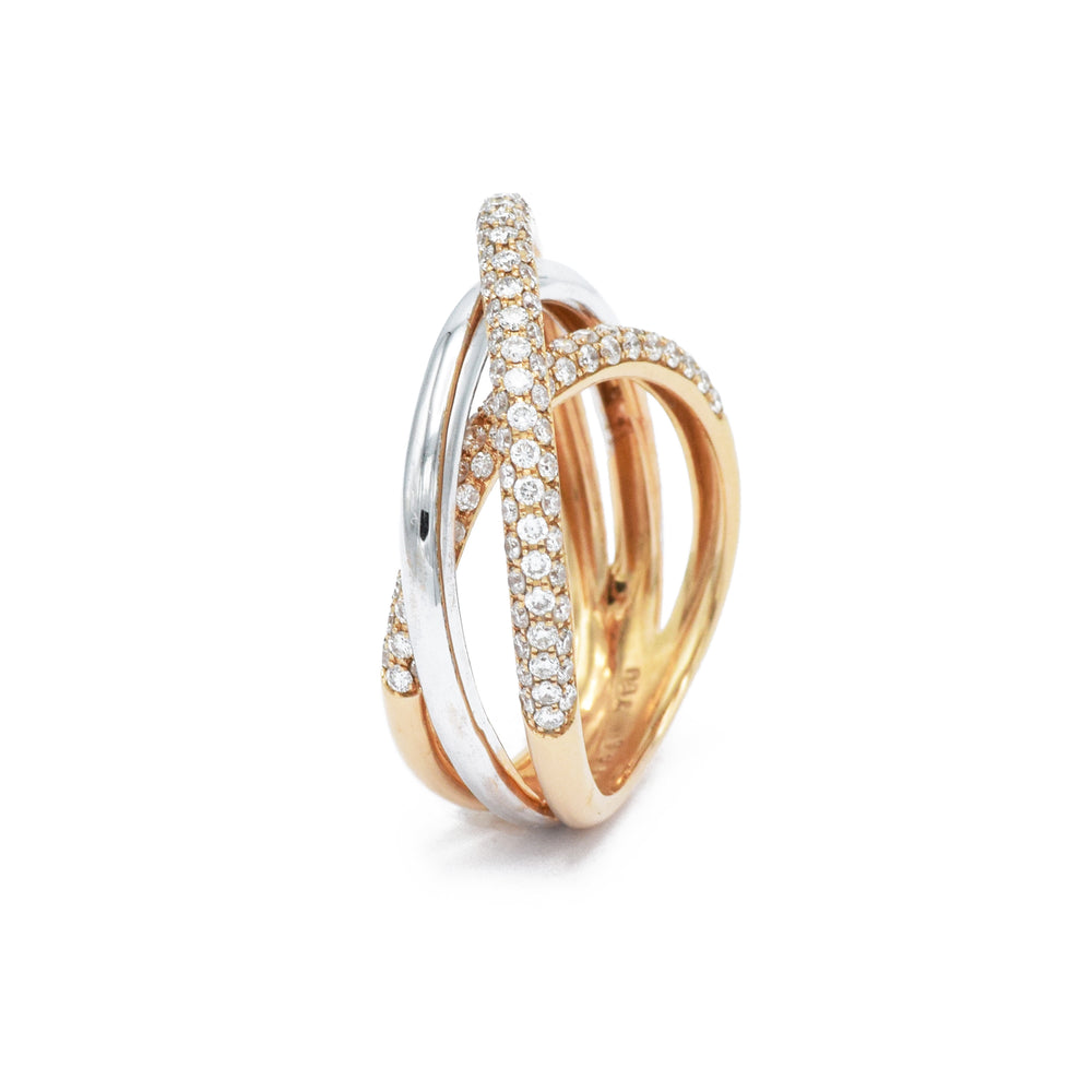 Tricolor Gold and Diamond Twist Ring