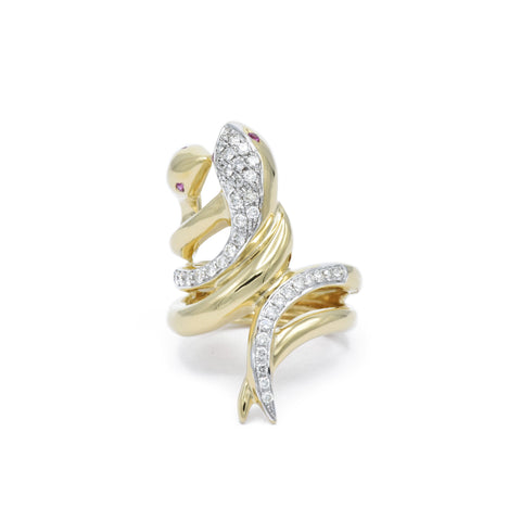 14kt Gold and Diamond Double Snake Ring
