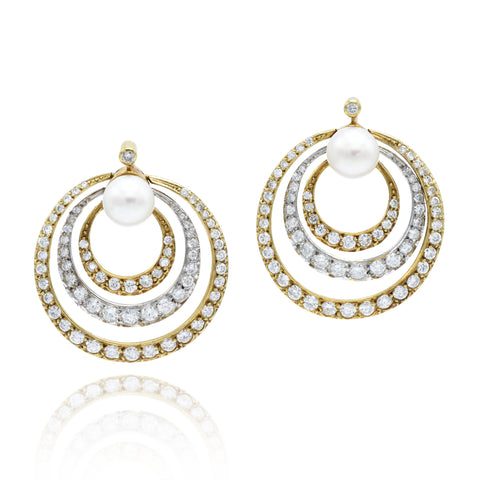 Estate Diamond and Pearl Earrings