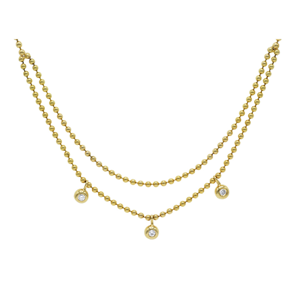 18kt Gold Ball Chain, Double Row Necklace