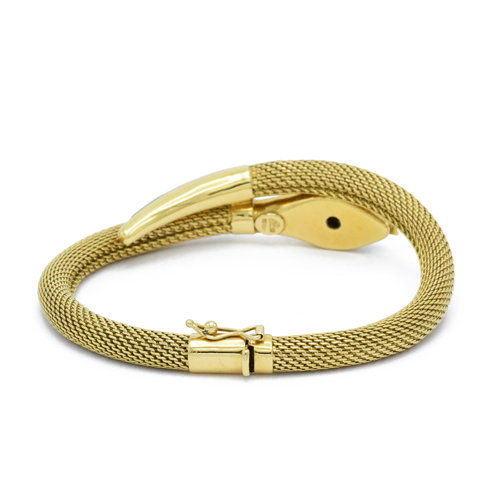 Vintage Gold and Enamel Snake Bracelet
