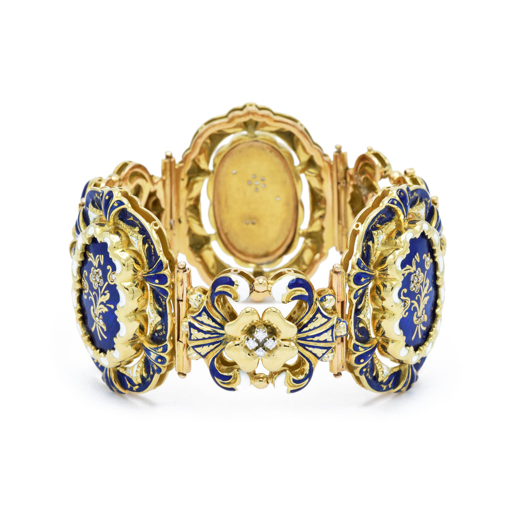 Victorian Yellow Gold and Enamel Bracelet with Diamonds