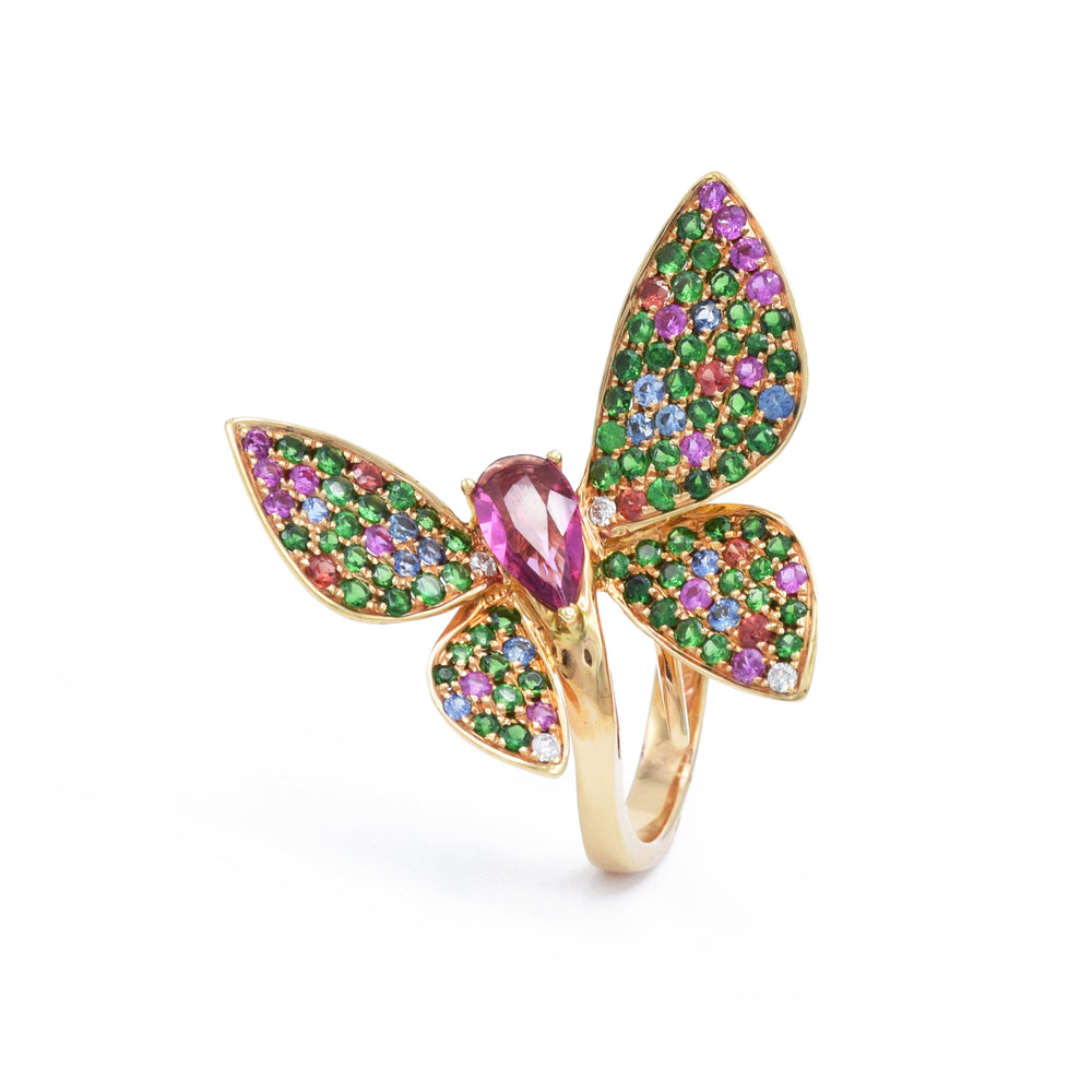 18kt Rose Gold Butterfly Ring with Rubellite and Sapphires