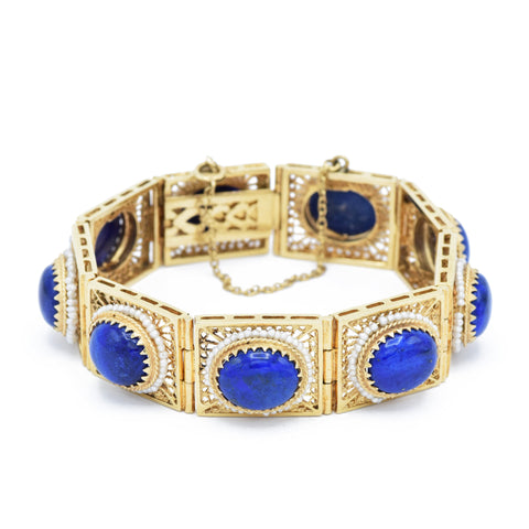 Victorian Lapis Lazuli and Seed Pearl Bracelet