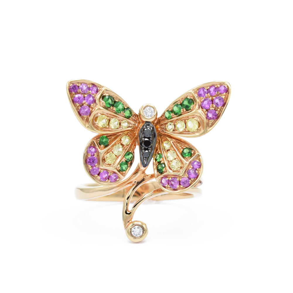 18kt Rose Gold Butterfly Ring With Sapphires