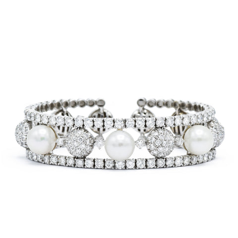 Estate Stefan Hafner Pearl and Diamond Bracelet