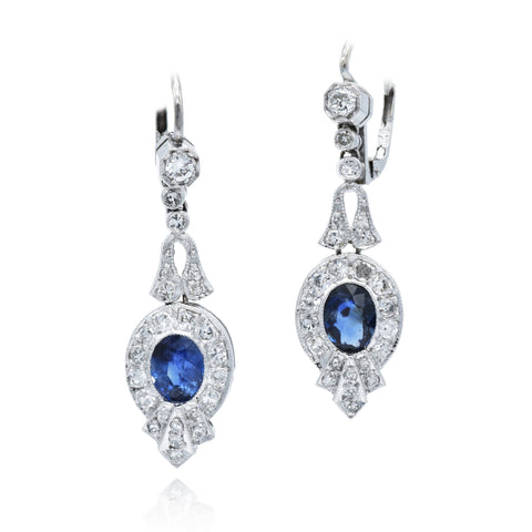 Estate 14kt White Gold Sapphire Drop Earrings
