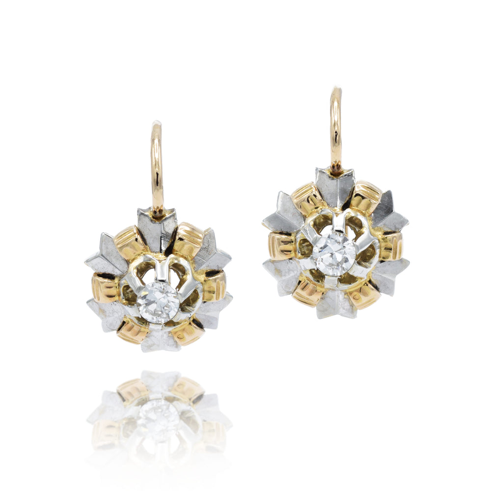 Retro 18kt Two Tone Diamond Earrings