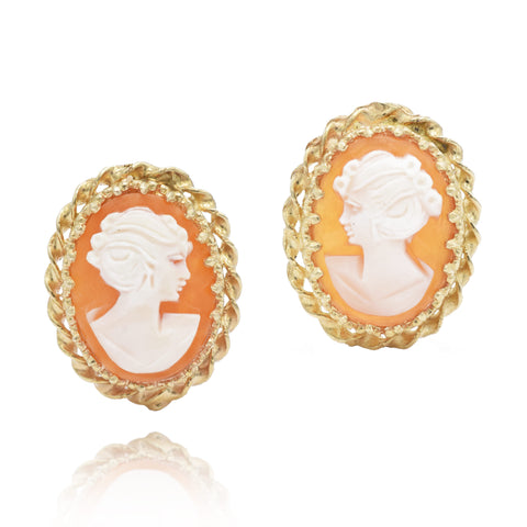 Estate 14kt Yellow Gold Cameo Earrings