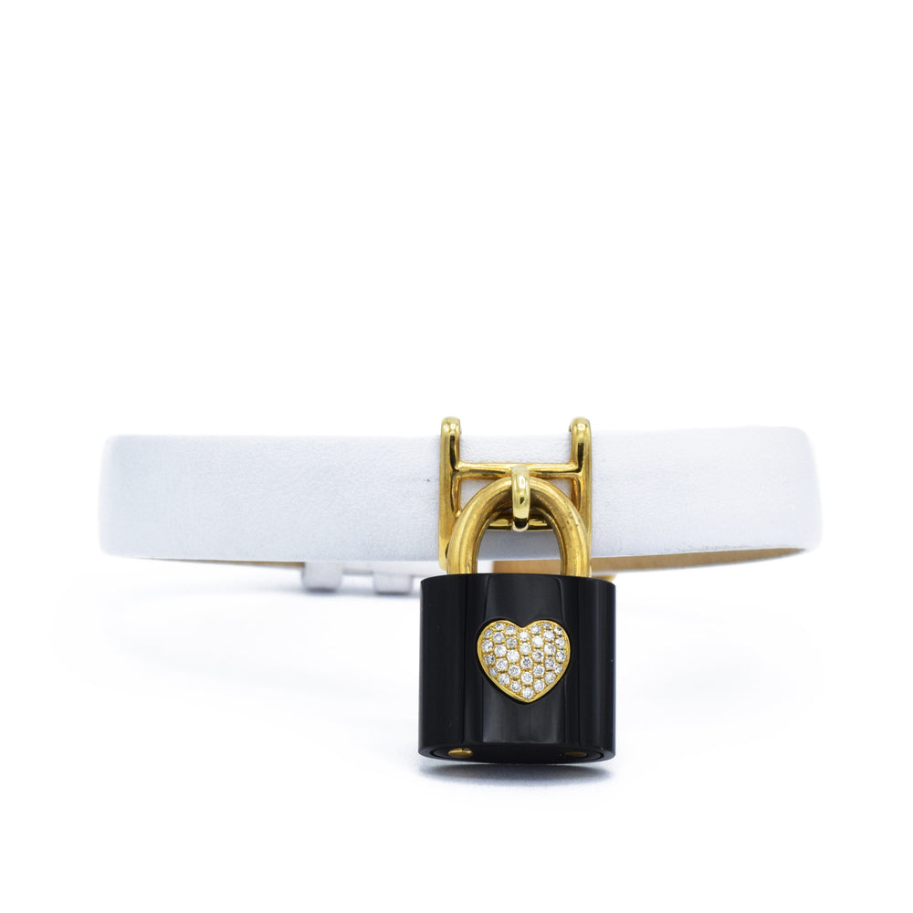 White Leather Bracelet with Black Agate Lock