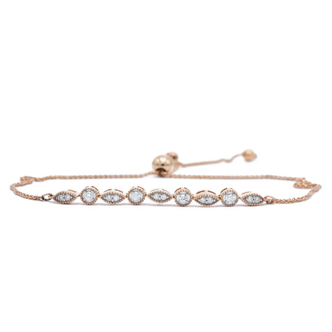 14kt Rose Gold Adjustable Diamond Bracelet