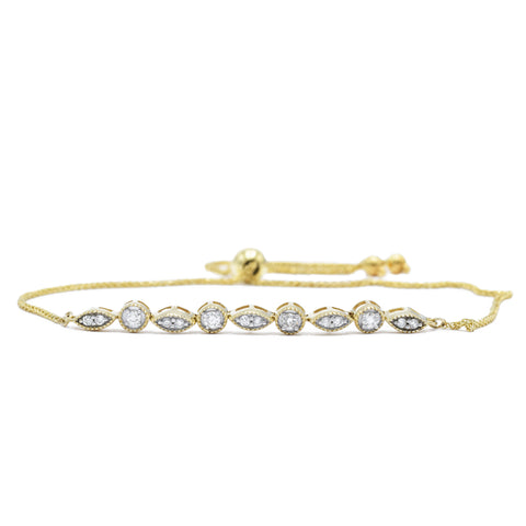 14kt Yellow Gold Adjustable Diamond Bracelet
