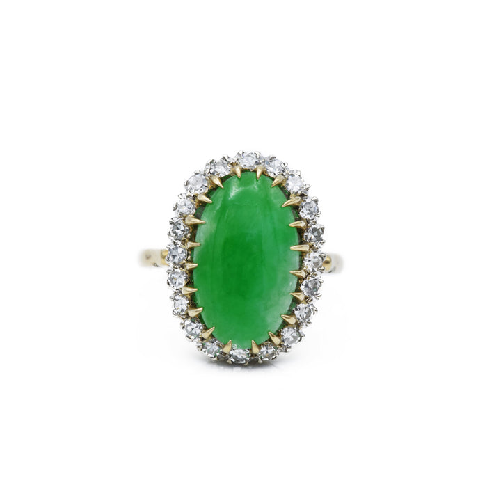 Estate Jade & Diamond Ring