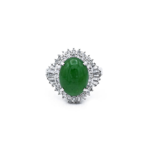 Estate c. 1950 Jade and Diamond Ring