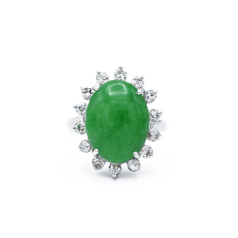 Vintage Jade & Diamond Ring