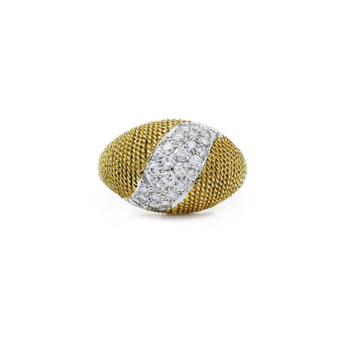 Estate 18kt Yellow Gold and Platinum Diamond Ring