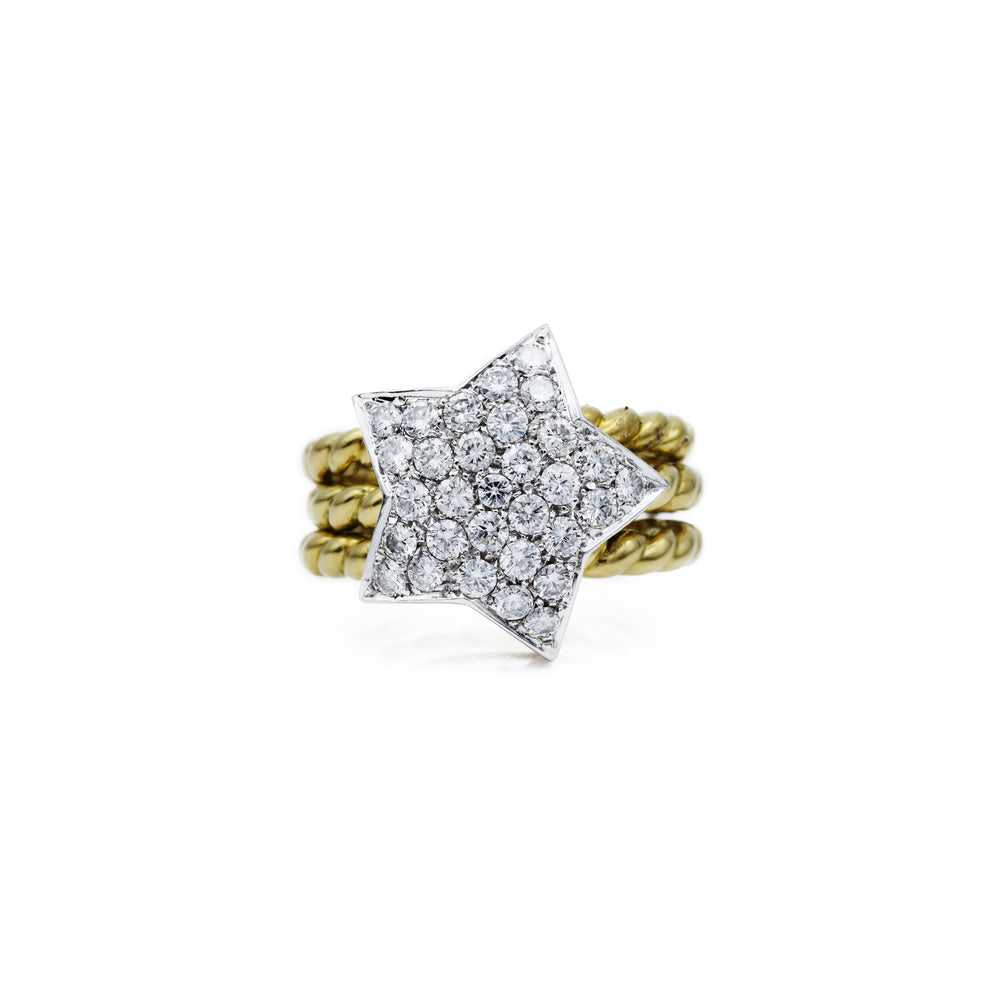 Estate 18kt Yellow Gold and Diamond Star Ring