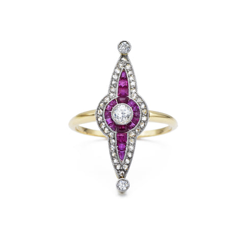 Estate 18kt Ruby and Diamond Ring, c.1940s