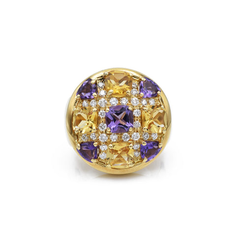 Estate Amethyst, Citrine, Diamond Ring
