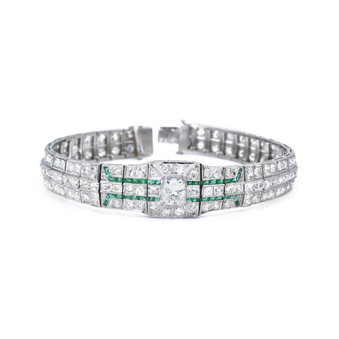 Estate Diamond Bracelet with Emeralds