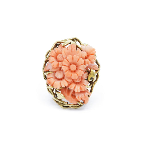 Estate Yellow Gold, Handmade Carved Coral Ring
