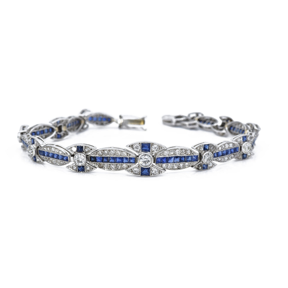 Estate Diamond and Sapphire Bracelet