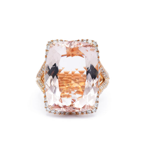 Estate 18kt Rose Gold Morganite Ring