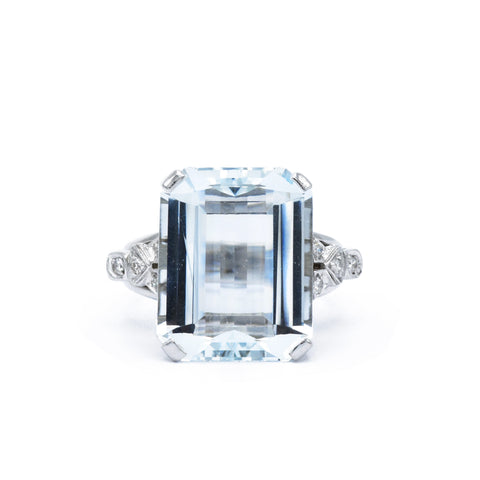 White Gold with Aquamarine Estate Ring