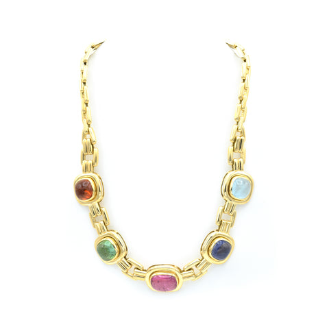 Estate 18kt Gold, Cabochon, Aquamarine, Sapphire & Tourmaline Necklace