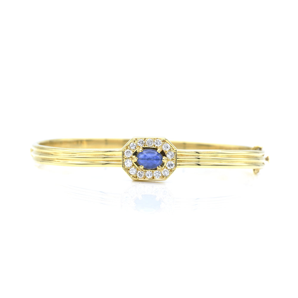 Vintage 18kt Yellow Gold Cabochon Sapphire & Diamond Bangle