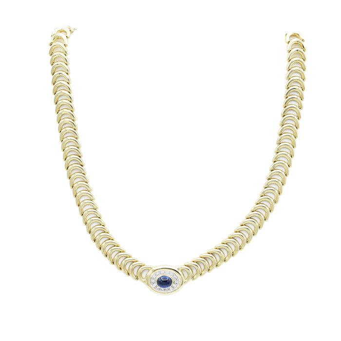 Vintage c. 1970s 14kt Yellow Gold, Sapphire & Diamond Necklace