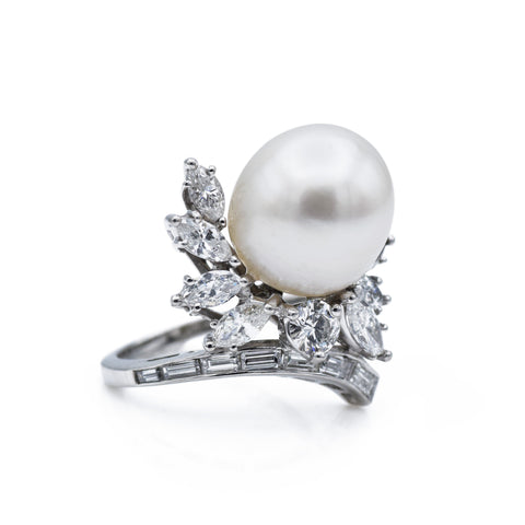 Estate Platinum 13.5mm South Sea Pearl Diamond Cocktail Ring