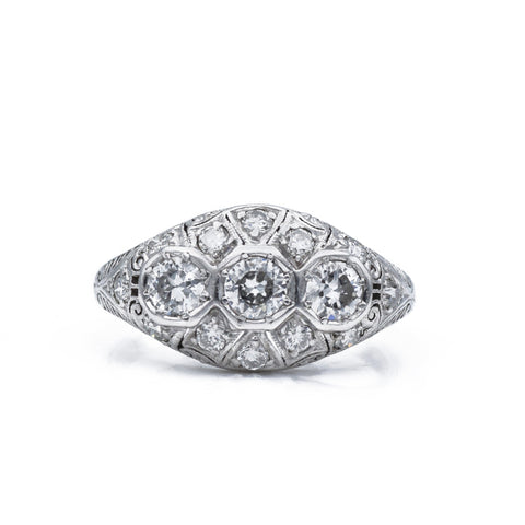 Estate c.1920 Platinum Diamond Filigree Ring