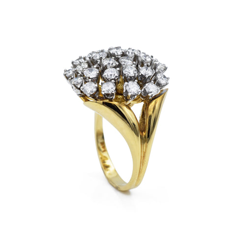 Estate Retro-Era Gold & Diamond Cluster Ring