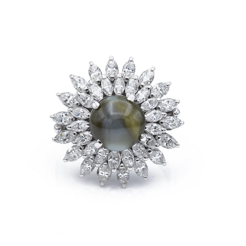 Estate Platinum Chrysoberyl Cat's Eye & Diamond Ring