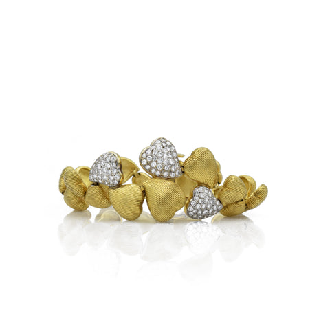 "Vintage 18kt Gold ""Floating Heart"" Bracelet"